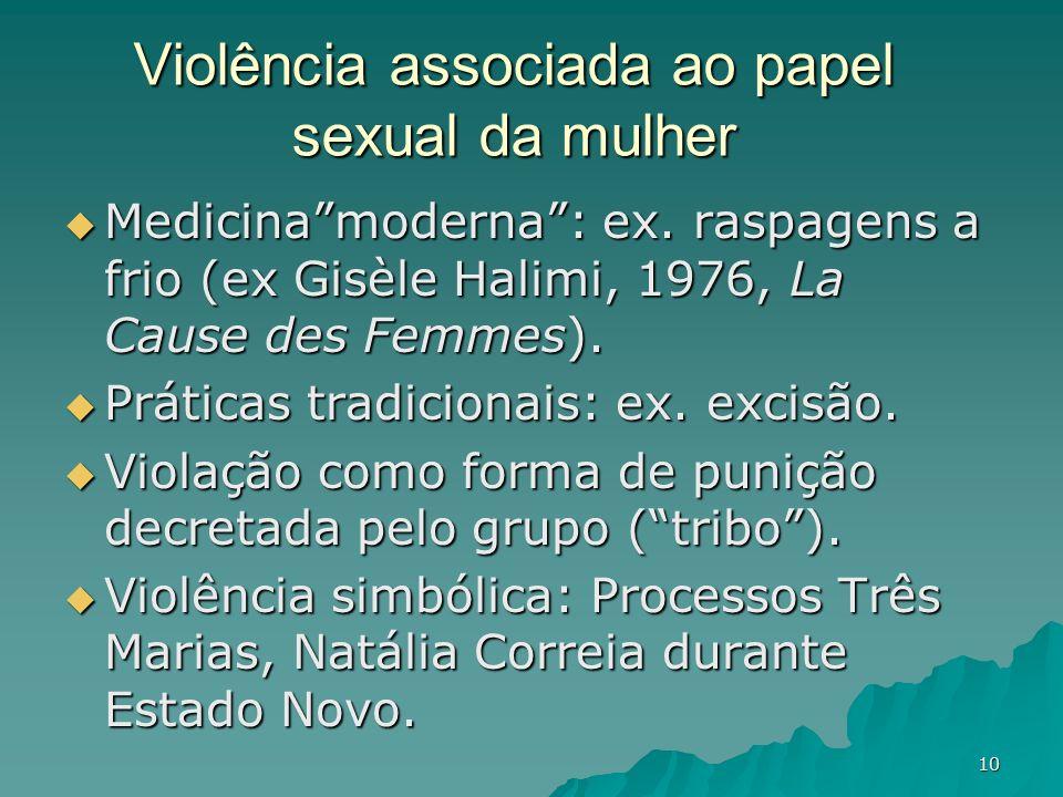 10 Violência associada ao papel sexual da mulher Medicinamoderna: ex. raspagens a frio (ex Gisèle Halimi, 1976, La Cause des Femmes). Medicinamoderna: