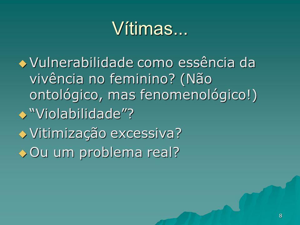 8 Vítimas... Vulnerabilidade como essência da vivência no feminino? (Não ontológico, mas fenomenológico!) Vulnerabilidade como essência da vivência no
