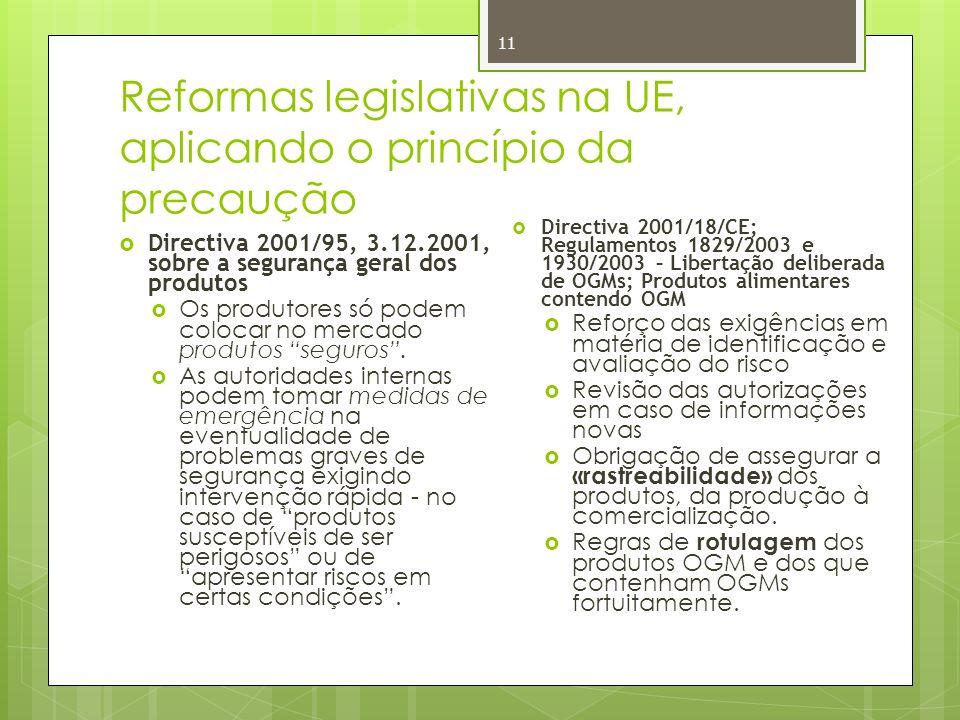 Reformas legislativas na UE, aplicando o princípio da precaução 11 Directiva 2001/95, 3.12.2001, sobre a segurança geral dos produtos Os produtores só podem colocar no mercado produtos seguros.
