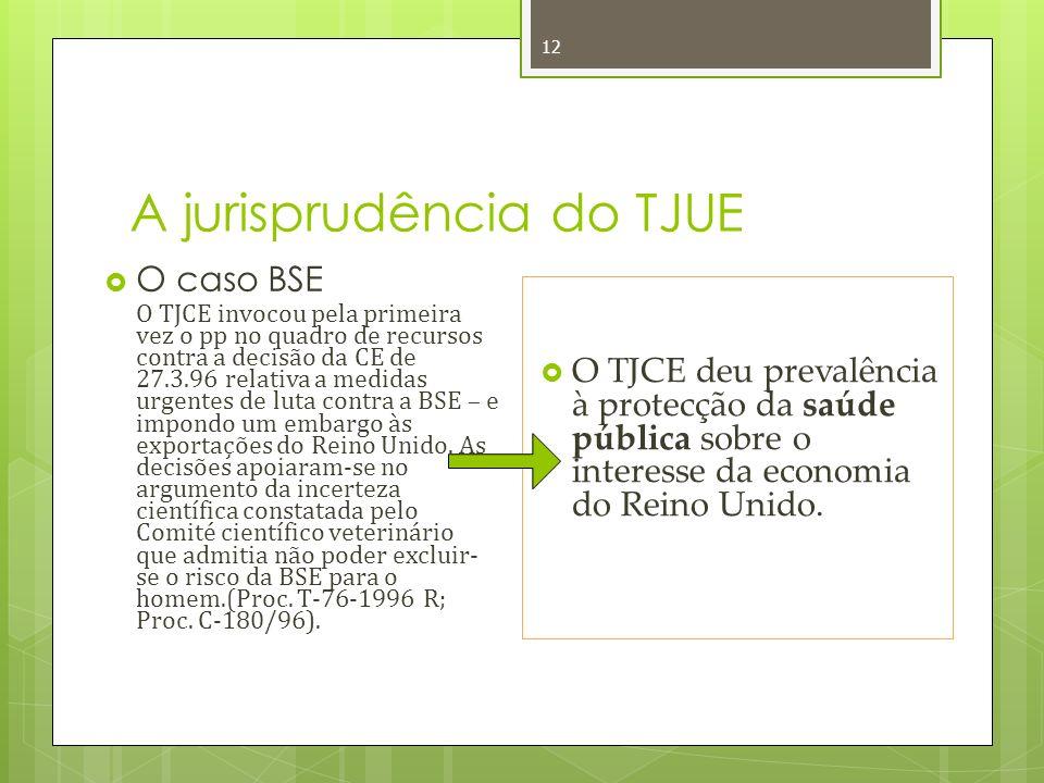 A jurisprudência do TJUE 12 O caso BSE O TJCE invocou pela primeira vez o pp no quadro de recursos contra a decisão da CE de 27.3.96 relativa a medidas urgentes de luta contra a BSE – e impondo um embargo às exportações do Reino Unido.