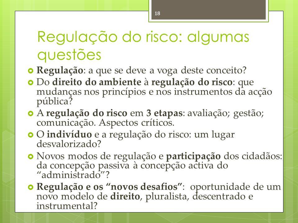 Regulação do risco: algumas questões Regulação: a que se deve a voga deste conceito.