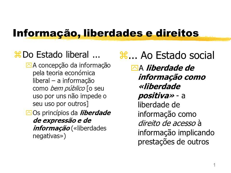 1 Informação, liberdades e direitos zDo Estado liberal... yA concepção da informação pela teoria económica liberal – a informação como bem público [o