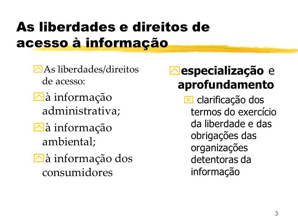 3 As liberdades e direitos de acesso à informação yAs liberdades/direitos de acesso: yà informação administrativa; yà informação ambiental; yà informa
