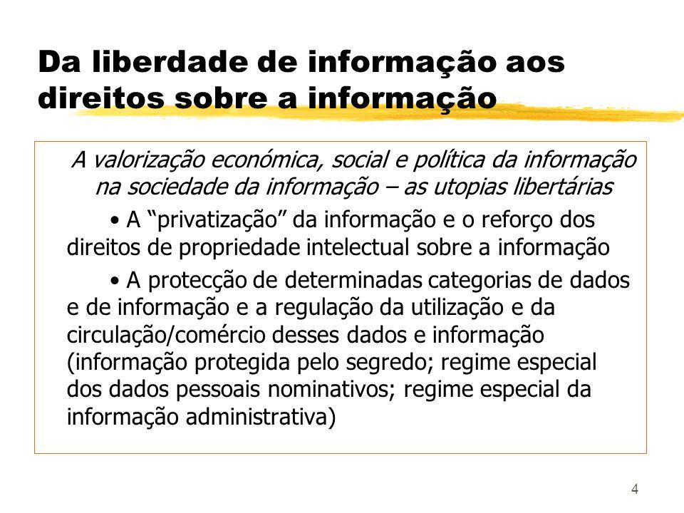 4 Da liberdade de informação aos direitos sobre a informação A valorização económica, social e política da informação na sociedade da informação – as
