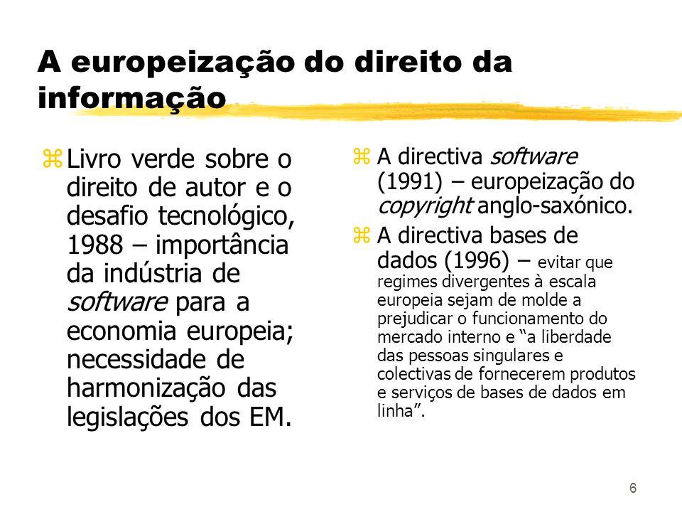 6 A europeização do direito da informação zLivro verde sobre o direito de autor e o desafio tecnológico, 1988 – importância da indústria de software p
