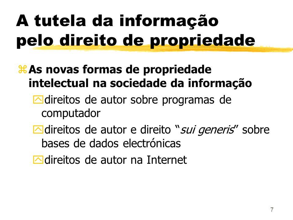 7 A tutela da informação pelo direito de propriedade zAs novas formas de propriedade intelectual na sociedade da informação ydireitos de autor sobre p