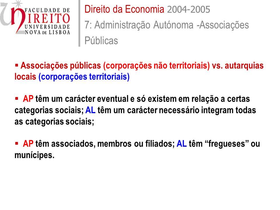 Direito da Economia 2004-2005 Sumário 8: Administração Autónoma - Associações Públicas Associações públicas (AP) vs.
