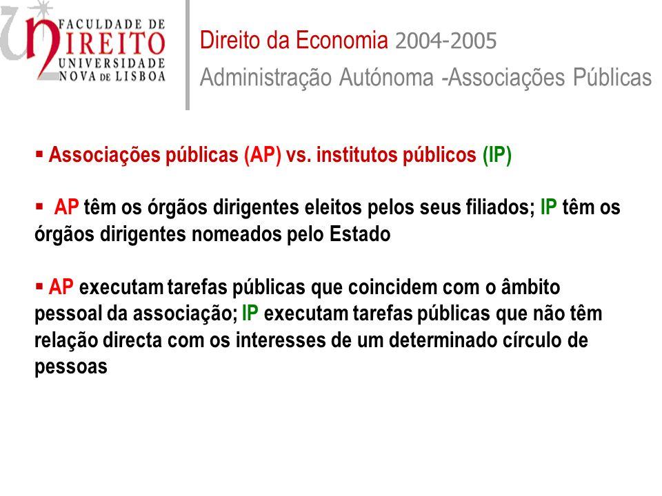 Direito da Economia 2004-2005 Administração Autónoma - Associações Públicas Associações públicas (AP) vs. institutos públicos (IP) AP têm os órgãos di