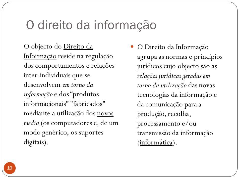O direito da informação 10 O objecto do Direito da Informação reside na regulação dos comportamentos e relações inter-individuais que se desenvolvem em torno da informação e dos produtos informacionais fabricados mediante a utilização dos novos media (os computadores e, de um modo genérico, os suportes digitais).