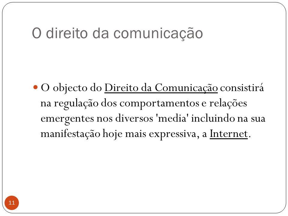 O direito da comunicação 11 O objecto do Direito da Comunicação consistirá na regulação dos comportamentos e relações emergentes nos diversos media incluindo na sua manifestação hoje mais expressiva, a Internet.