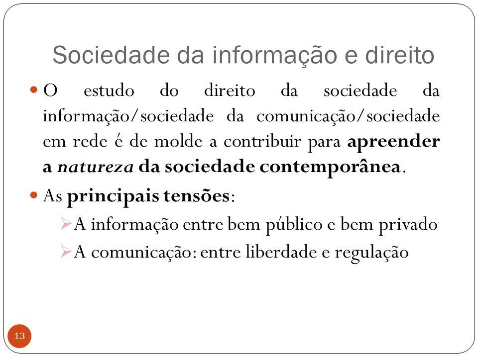 Sociedade da informação e direito 13 O estudo do direito da sociedade da informação/sociedade da comunicação/sociedade em rede é de molde a contribuir para apreender a natureza da sociedade contemporânea.