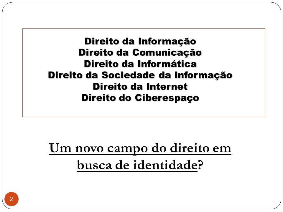 2 Direito da Informação Direito da Comunicação Direito da Informática Direito da Sociedade da Informação Direito da Internet Direito do Ciberespaço Um novo campo do direito em busca de identidade?