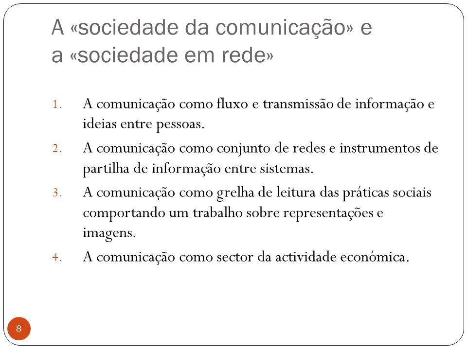 A «sociedade da comunicação» e a «sociedade em rede» 8 1.