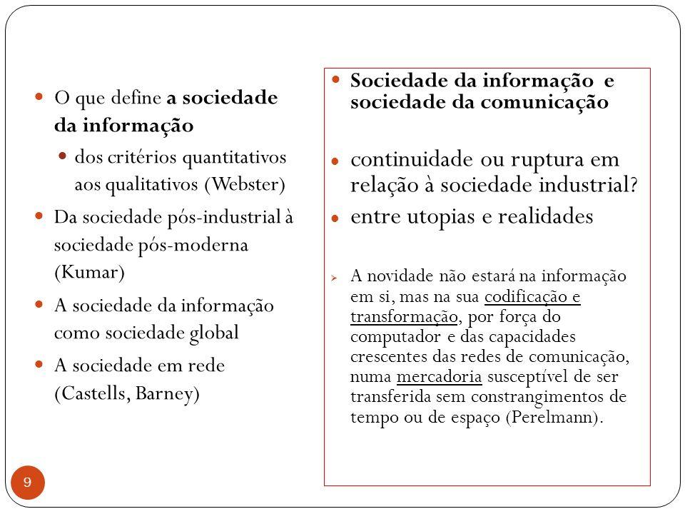 9 O que define a sociedade da informação dos critérios quantitativos aos qualitativos (Webster) Da sociedade pós-industrial à sociedade pós-moderna (Kumar) A sociedade da informação como sociedade global A sociedade em rede (Castells, Barney) Sociedade da informação e sociedade da comunicação continuidade ou ruptura em relação à sociedade industrial.