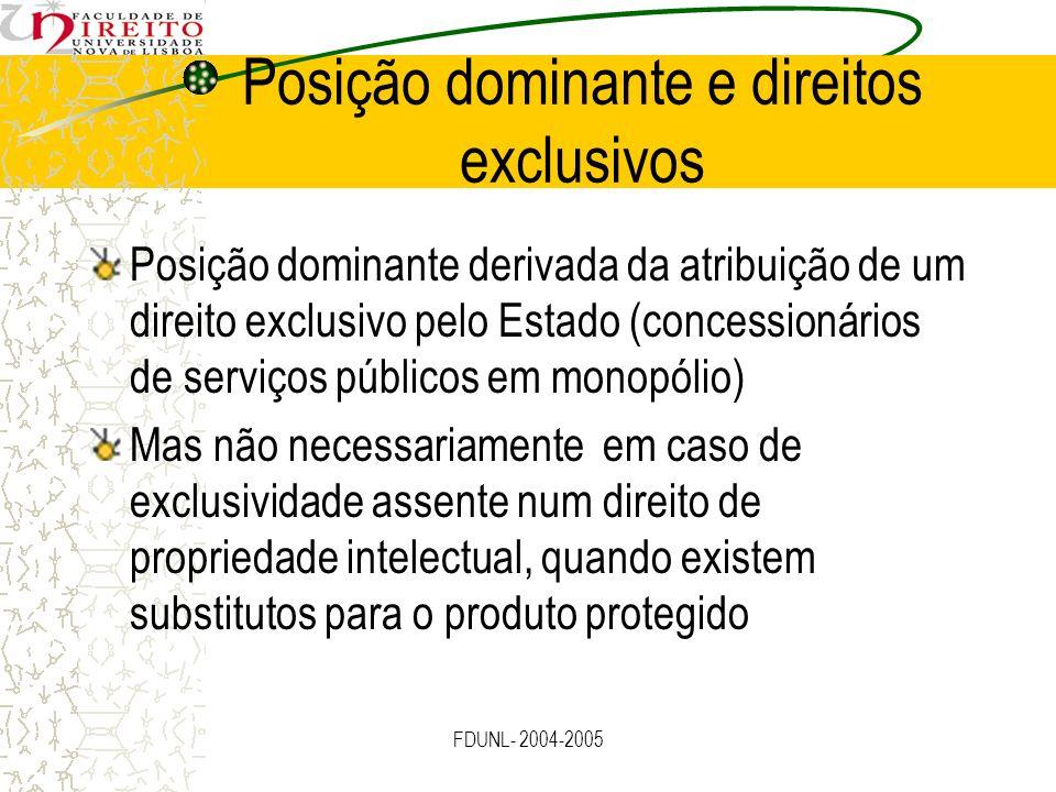 FDUNL- 2004-2005 Posição dominante e direitos exclusivos Posição dominante derivada da atribuição de um direito exclusivo pelo Estado (concessionários