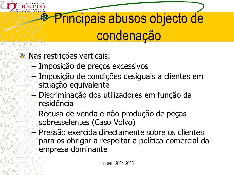 FDUNL- 2004-2005 Principais abusos objecto de condenação Nas restrições verticais: –Imposição de preços excessivos –Imposição de condições desiguais a