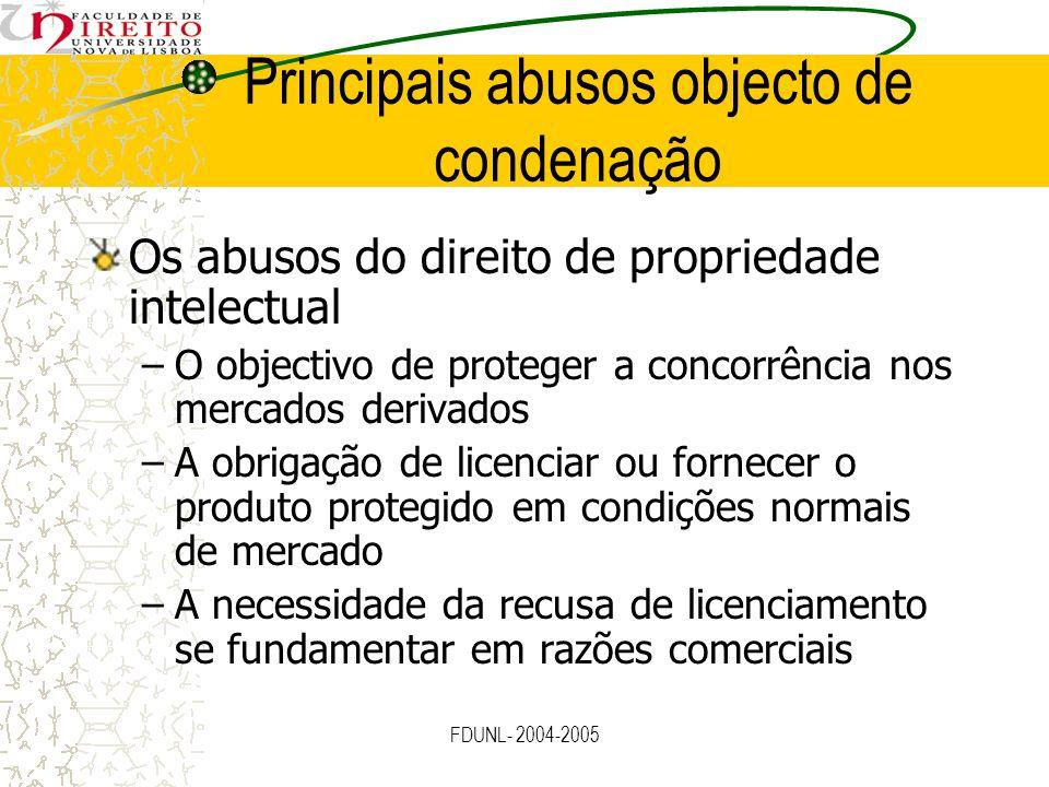 FDUNL- 2004-2005 Principais abusos objecto de condenação Os abusos do direito de propriedade intelectual –O objectivo de proteger a concorrência nos m