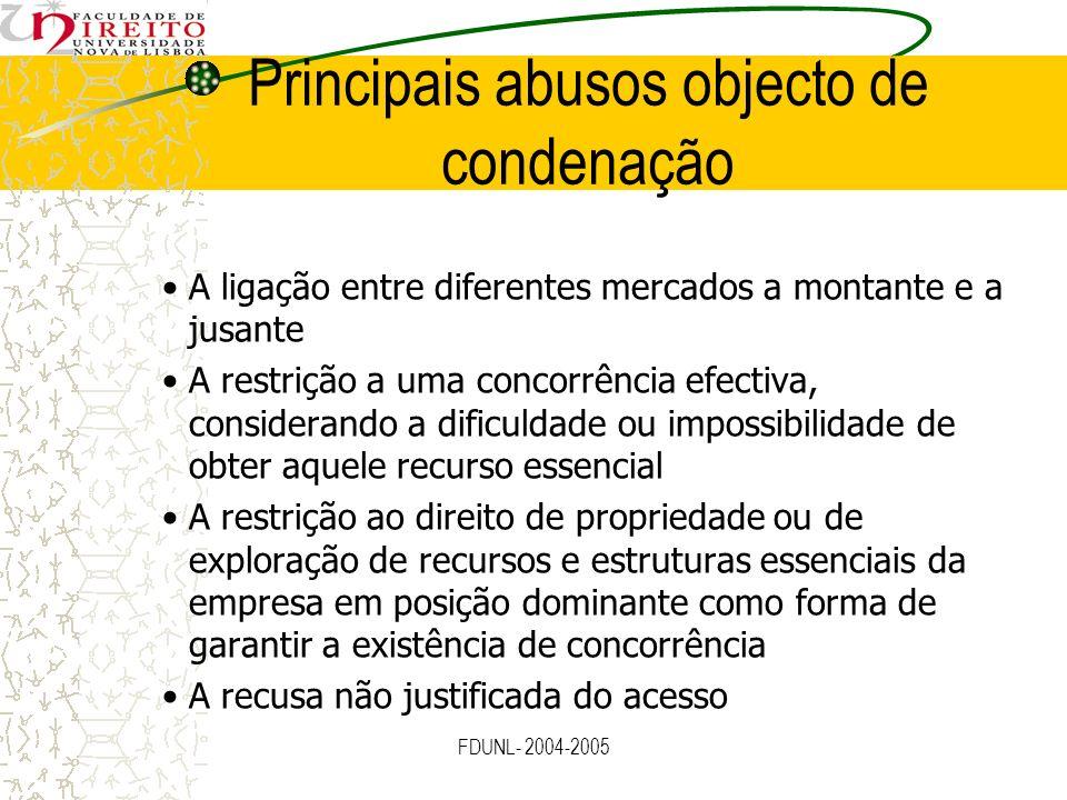 FDUNL- 2004-2005 A ligação entre diferentes mercados a montante e a jusante A restrição a uma concorrência efectiva, considerando a dificuldade ou imp