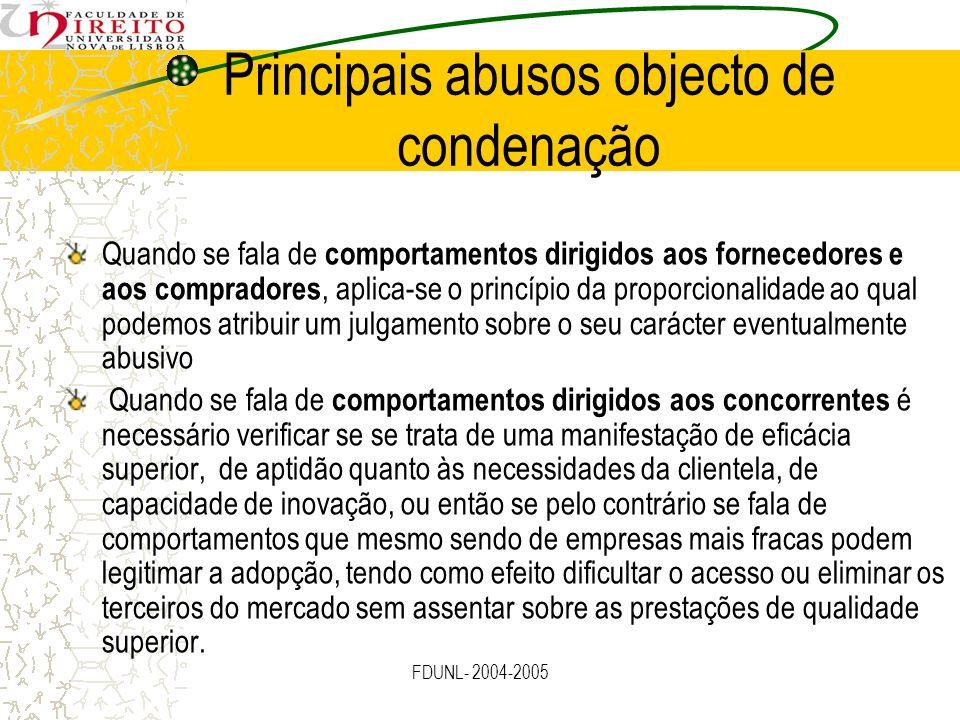Principais abusos objecto de condenação Quando se fala de comportamentos dirigidos aos fornecedores e aos compradores, aplica-se o princípio da propor