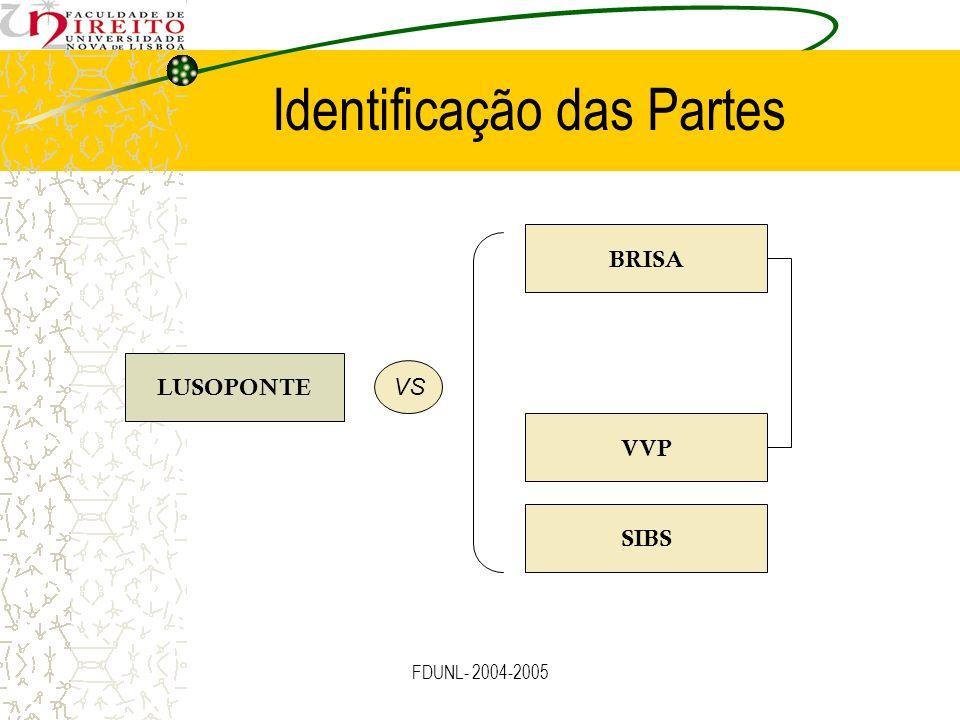 FDUNL- 2004-2005 Identificação das Partes LUSOPONTE BRISA VVP SIBS VS