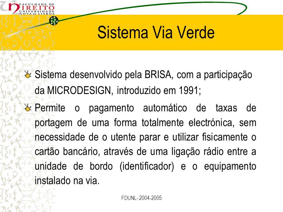 FDUNL- 2004-2005 Sistema Via Verde Sistema desenvolvido pela BRISA, com a participação da MICRODESIGN, introduzido em 1991; Permite o pagamento automá