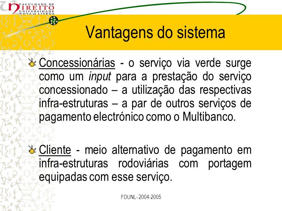 FDUNL- 2004-2005 Vantagens do sistema Concessionárias - o serviço via verde surge como um input para a prestação do serviço concessionado – a utilizaç