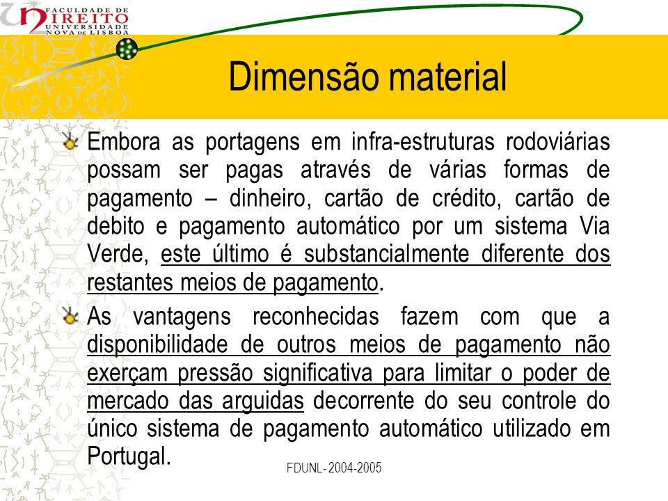 FDUNL- 2004-2005 Dimensão material Embora as portagens em infra-estruturas rodoviárias possam ser pagas através de várias formas de pagamento – dinhei