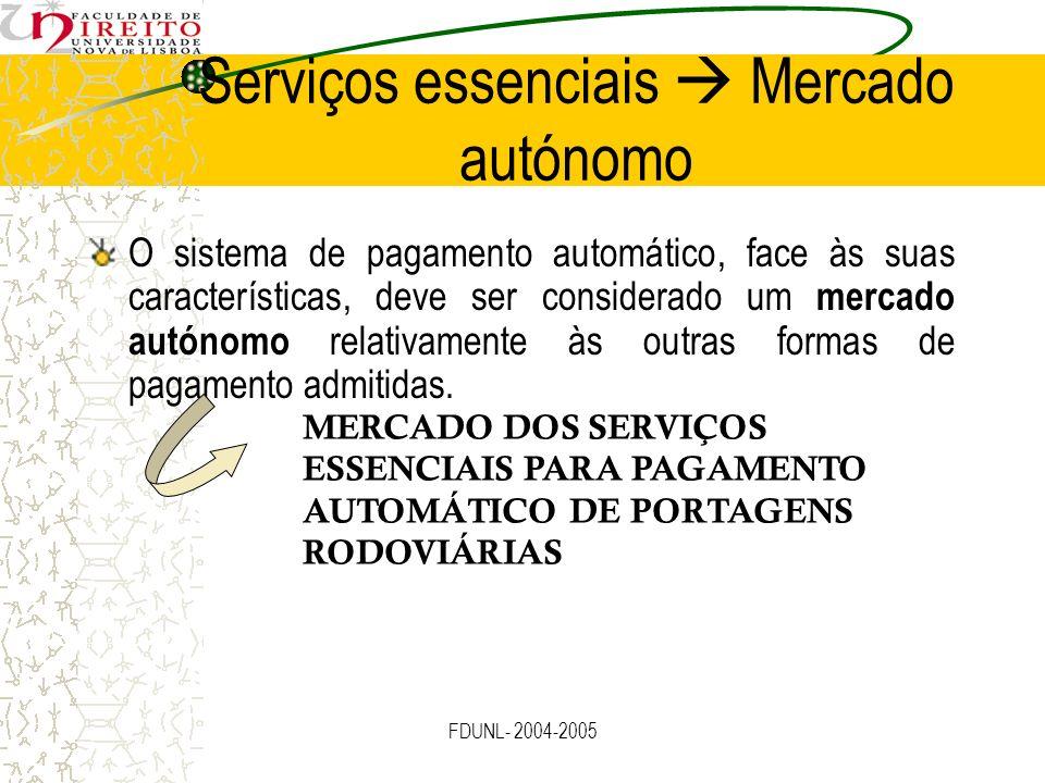 FDUNL- 2004-2005 Serviços essenciais Mercado autónomo O sistema de pagamento automático, face às suas características, deve ser considerado um mercado