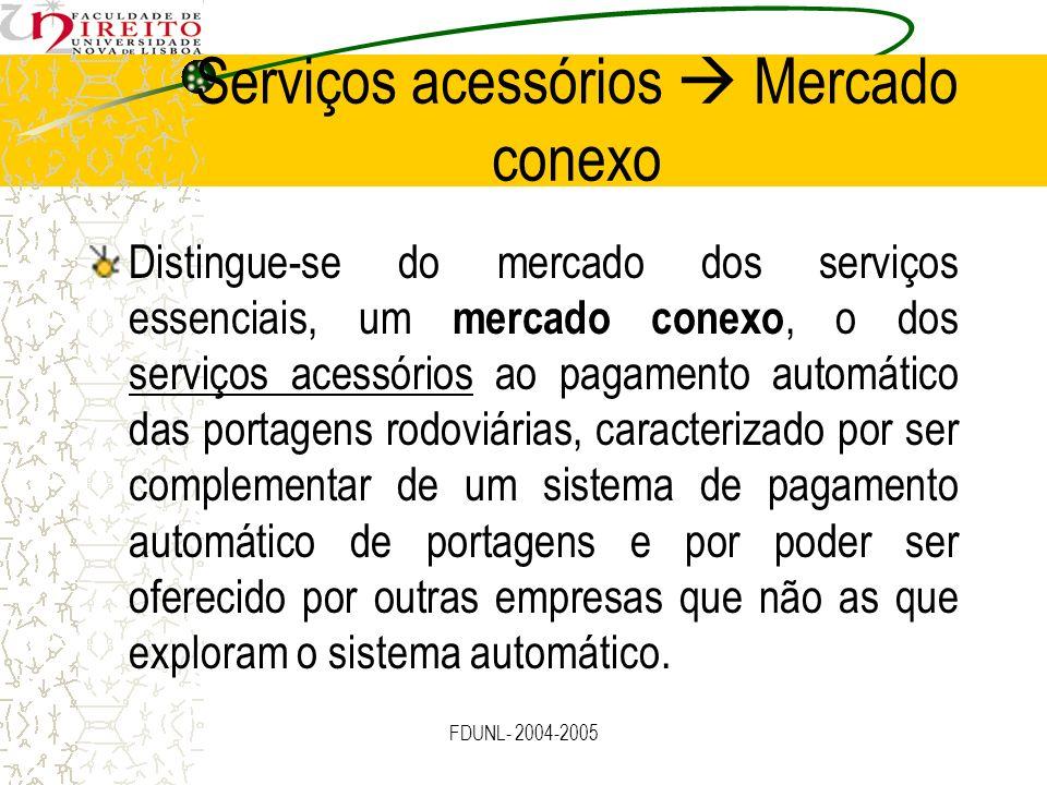 FDUNL- 2004-2005 Serviços acessórios Mercado conexo Distingue-se do mercado dos serviços essenciais, um mercado conexo, o dos serviços acessórios ao p