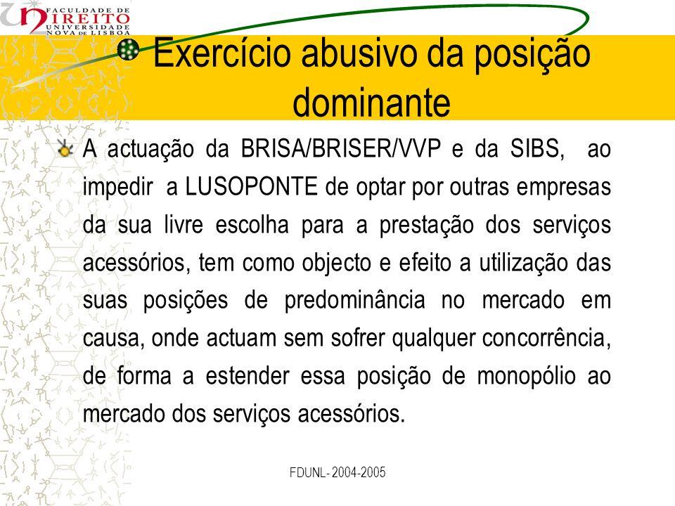 FDUNL- 2004-2005 Exercício abusivo da posição dominante A actuação da BRISA/BRISER/VVP e da SIBS, ao impedir a LUSOPONTE de optar por outras empresas