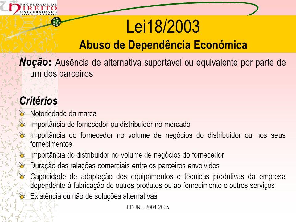 FDUNL- 2004-2005 Lei18/2003 Abuso de Dependência Económica Noção : Ausência de alternativa suportável ou equivalente por parte de um dos parceiros Cri