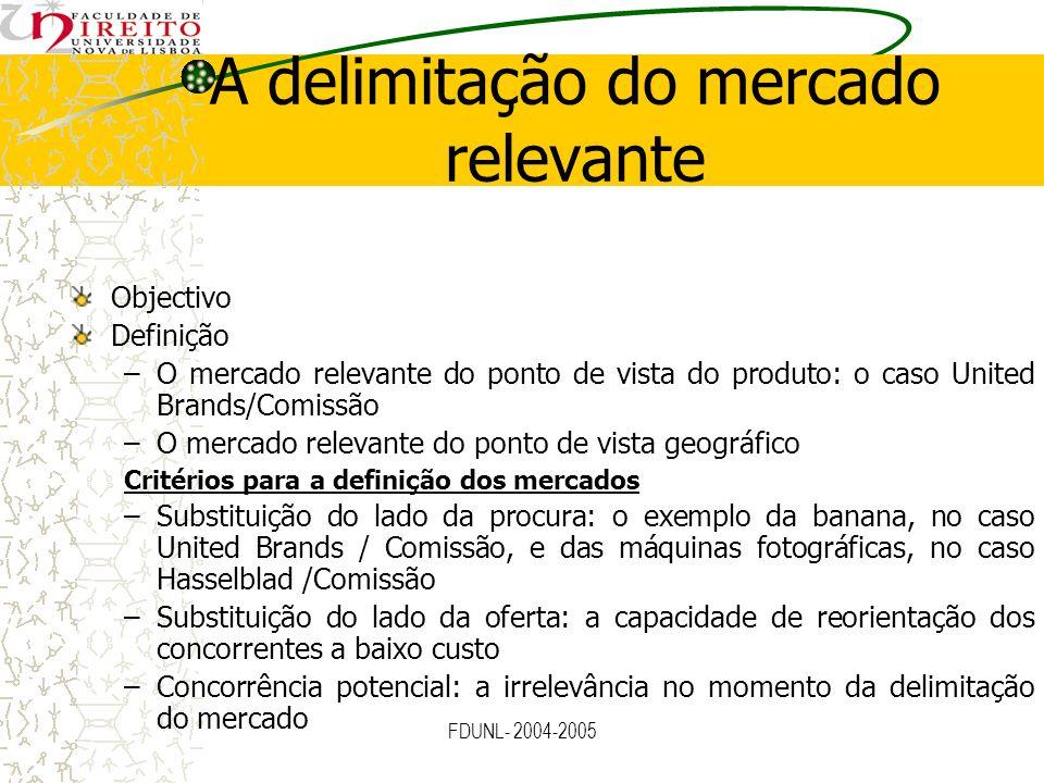 FDUNL- 2004-2005 A delimitação do mercado relevante Elementos de apreciação para definir os mercados –A dimensão do produto: prova de substituição num passado recente; testes quantitativos; pontos de vista dos clientes e dos concorrentes; preferências dos consumidores –A dimensão geográfica: prova de deslocação num passado recente; características da procura (preferência por marcas nacionais); opinião dos clientes e concorrentes; estatísticas sobre comércio e orientação dos seus fluxos; entraves à reorientação das encomendas –O cálculo da quota de mercado