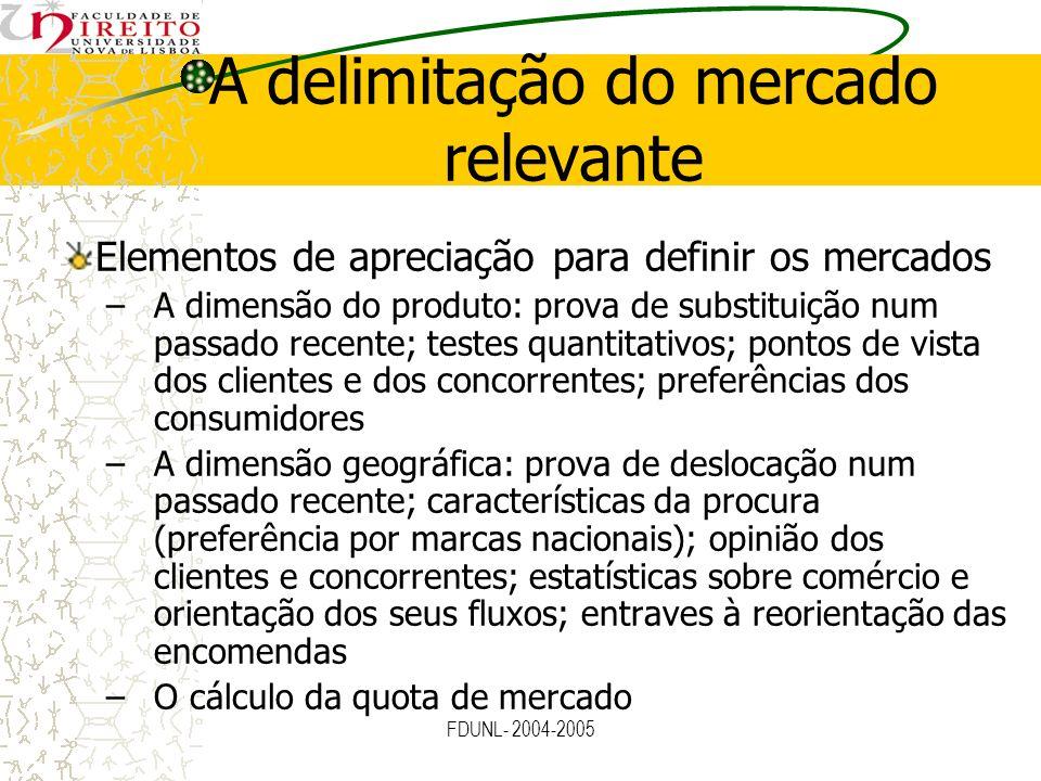 FDUNL- 2004-2005 A delimitação do mercado relevante Elementos de apreciação para definir os mercados –A dimensão do produto: prova de substituição num