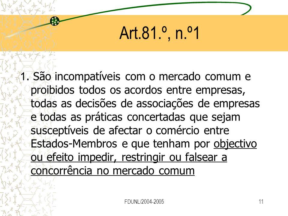 FDUNL/2004-200511 Art.81.º, n.º1 1. São incompatíveis com o mercado comum e proibidos todos os acordos entre empresas, todas as decisões de associaçõe