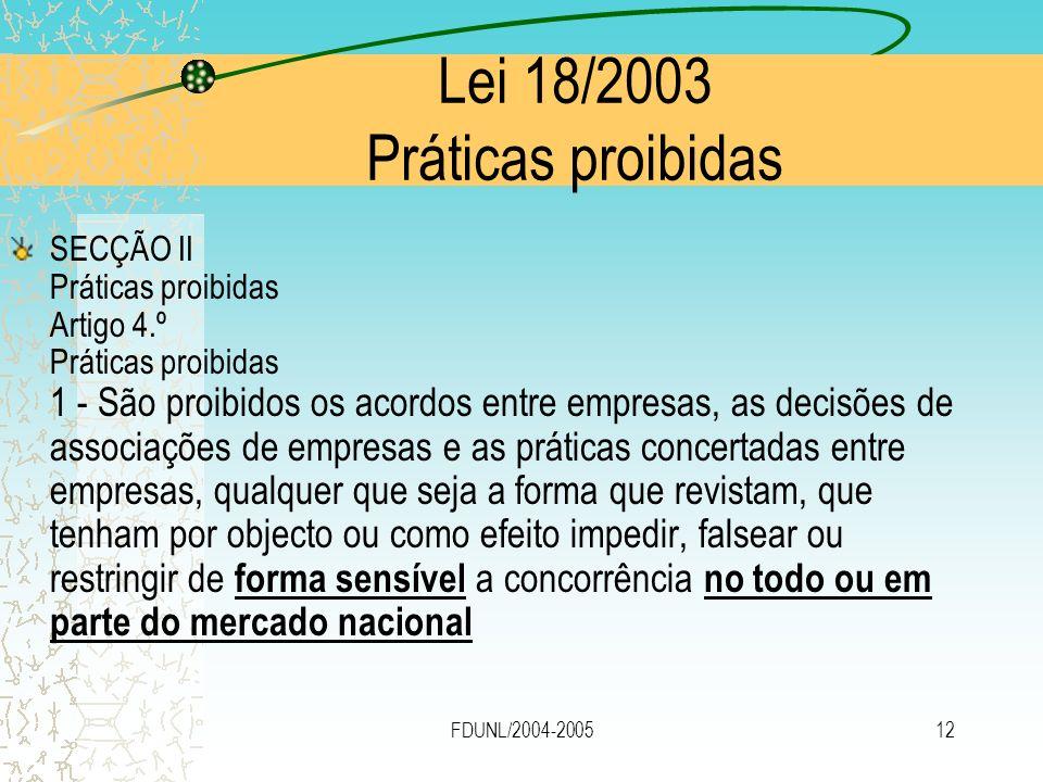FDUNL/2004-200512 Lei 18/2003 Práticas proibidas SECÇÃO II Práticas proibidas Artigo 4.º Práticas proibidas 1 - São proibidos os acordos entre empresa