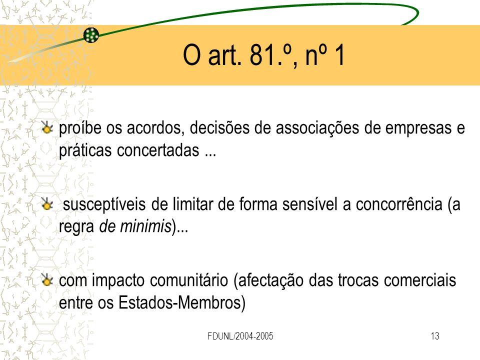 FDUNL/2004-200513 O art. 81.º, nº 1 proíbe os acordos, decisões de associações de empresas e práticas concertadas... susceptíveis de limitar de forma
