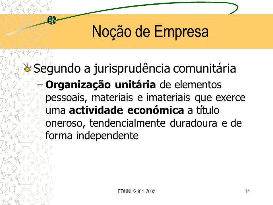 FDUNL/2004-200514 Noção de Empresa Segundo a jurisprudência comunitária –Organização unitária de elementos pessoais, materiais e imateriais que exerce
