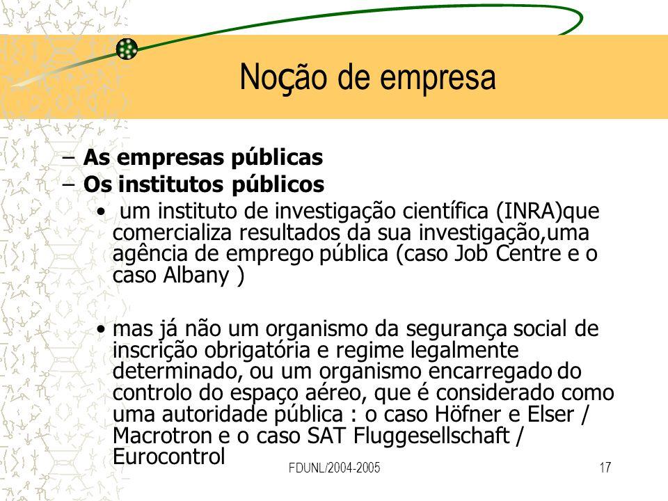 FDUNL/2004-200517 No ç ão de empresa –As empresas públicas –Os institutos públicos um instituto de investigação científica (INRA)que comercializa resu