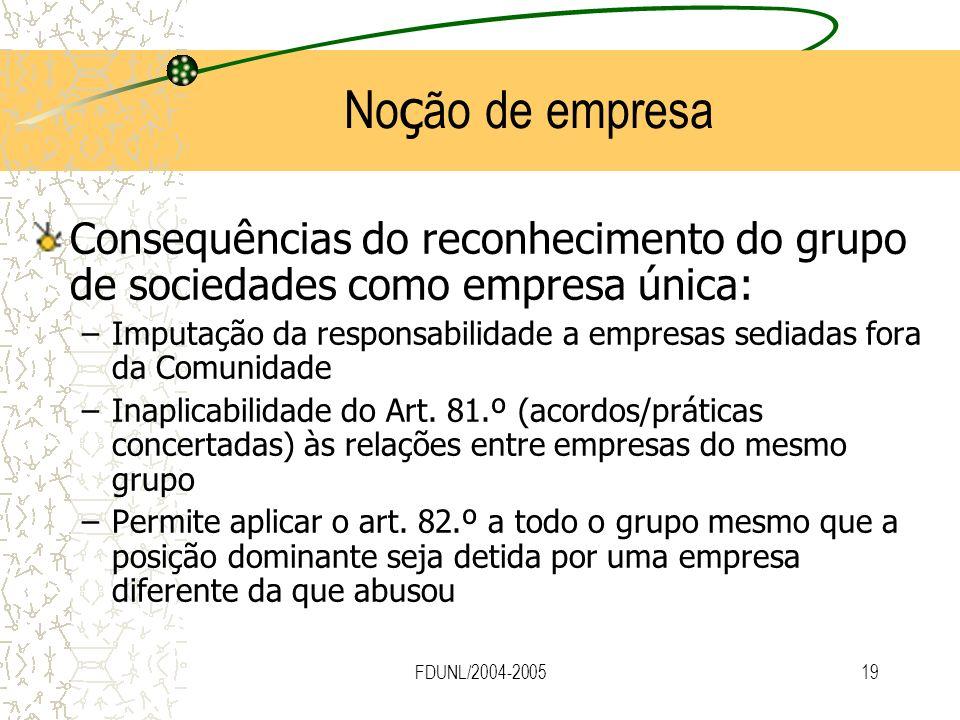 FDUNL/2004-200519 No ç ão de empresa Consequências do reconhecimento do grupo de sociedades como empresa única: –Imputação da responsabilidade a empre