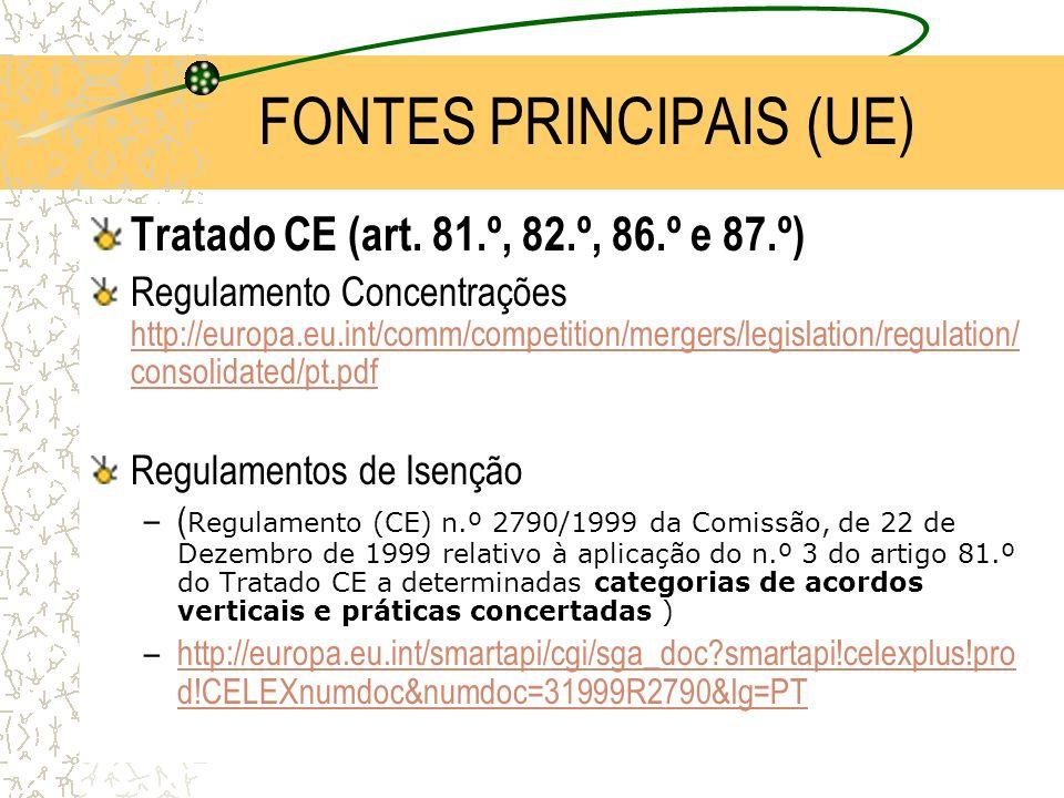 FDUNL/2004-20052 FONTES PRINCIPAIS (UE) Tratado CE (art. 81.º, 82.º, 86.º e 87.º) Regulamento Concentrações http://europa.eu.int/comm/competition/merg