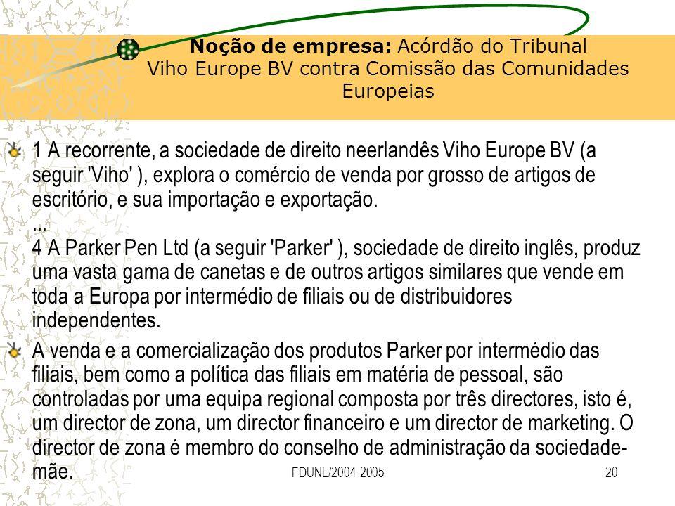 FDUNL/2004-200520 Noção de empresa: Acórdão do Tribunal Viho Europe BV contra Comissão das Comunidades Europeias 1 A recorrente, a sociedade de direit