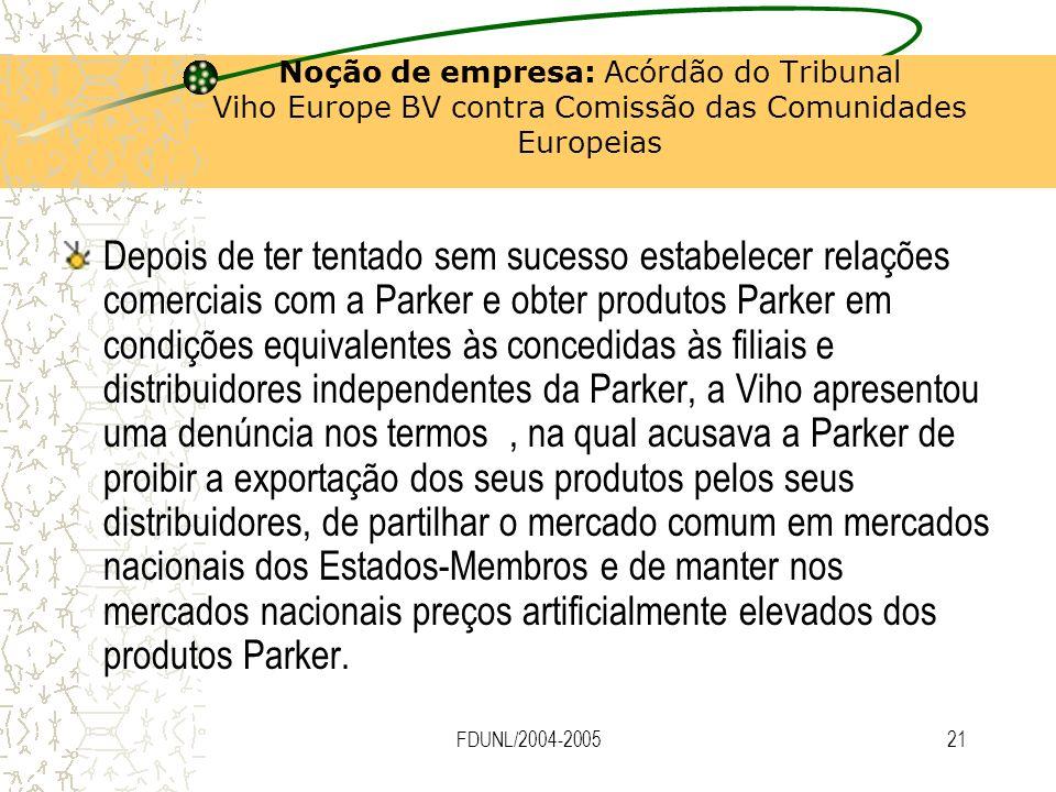 FDUNL/2004-200521 Noção de empresa: Acórdão do Tribunal Viho Europe BV contra Comissão das Comunidades Europeias Depois de ter tentado sem sucesso est