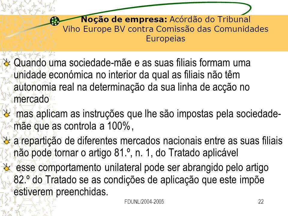 FDUNL/2004-200522 Noção de empresa: Acórdão do Tribunal Viho Europe BV contra Comissão das Comunidades Europeias Quando uma sociedade-mãe e as suas fi