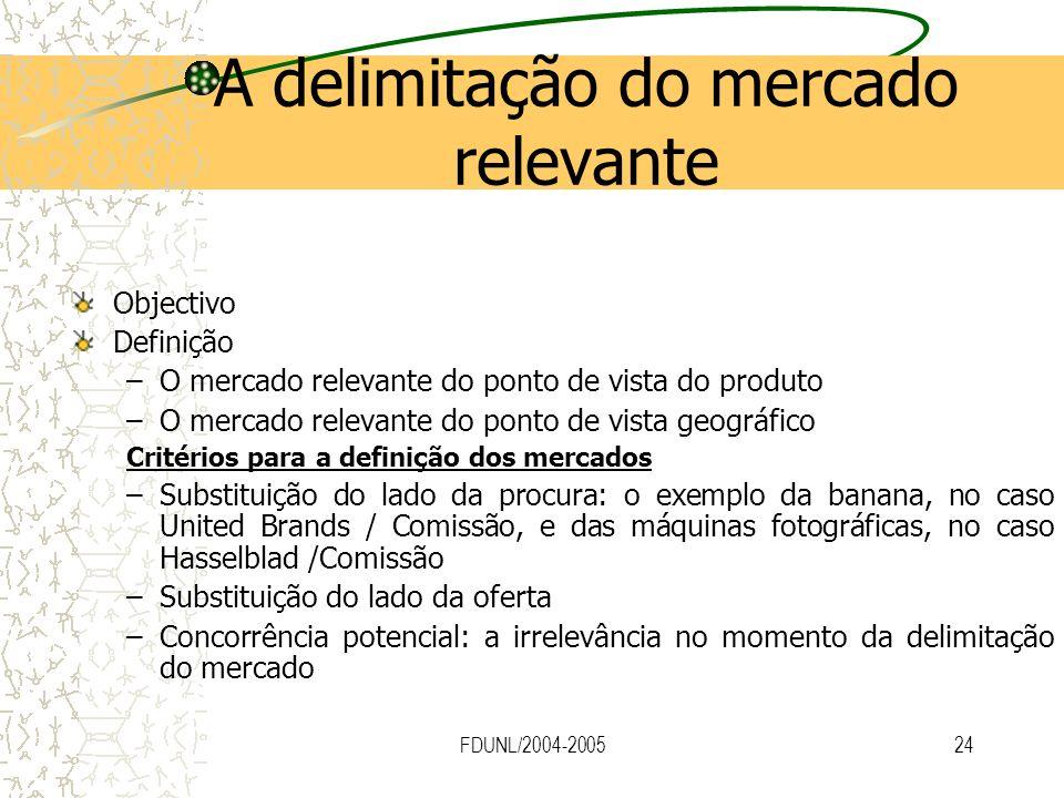 FDUNL/2004-200524 A delimitação do mercado relevante Objectivo Definição –O mercado relevante do ponto de vista do produto –O mercado relevante do pon