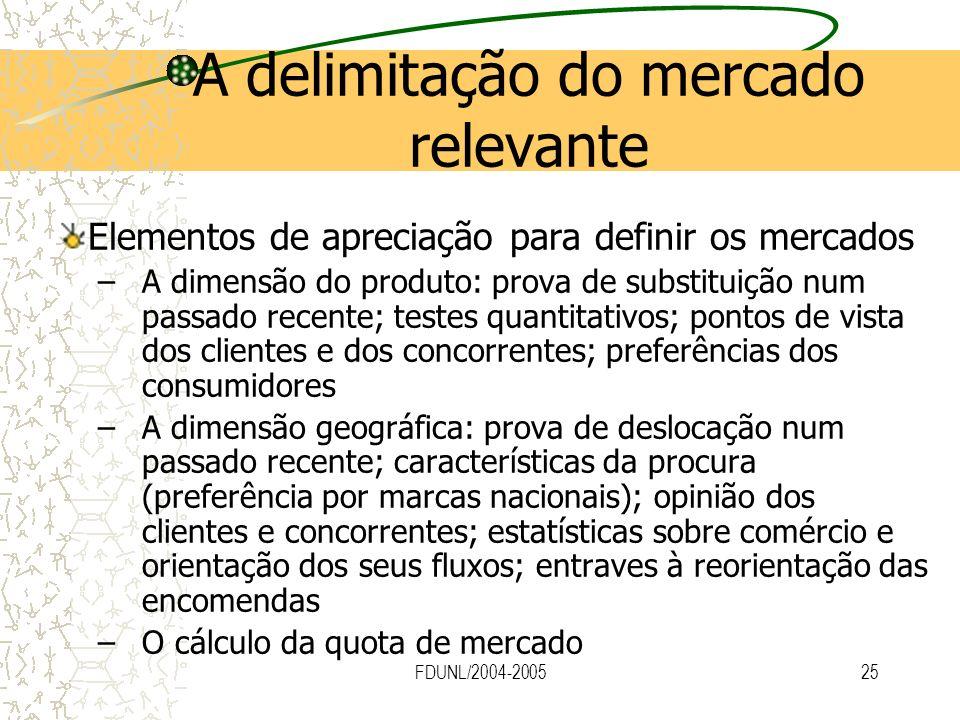 FDUNL/2004-200525 A delimitação do mercado relevante Elementos de apreciação para definir os mercados –A dimensão do produto: prova de substituição nu