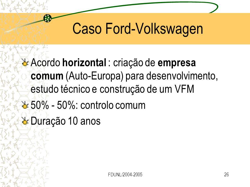 FDUNL/2004-200526 Caso Ford-Volkswagen Acordo horizontal : criação de empresa comum (Auto-Europa) para desenvolvimento, estudo técnico e construção de