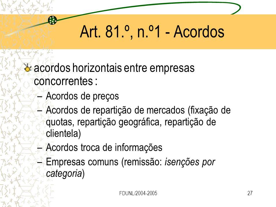 FDUNL/2004-200527 Art. 81.º, n.º1 - Acordos acordos horizontais entre empresas concorrentes : –Acordos de preços –Acordos de repartição de mercados (f