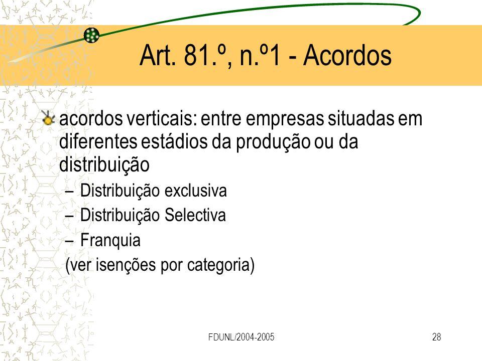 FDUNL/2004-200528 Art. 81.º, n.º1 - Acordos acordos verticais: entre empresas situadas em diferentes estádios da produção ou da distribuição –Distribu