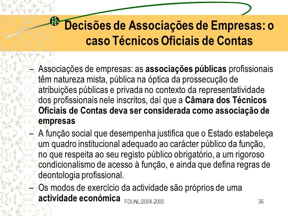 FDUNL/2004-200536 Decisões de Associações de Empresas: o caso Técnicos Oficiais de Contas –Associações de empresas: as associações públicas profission