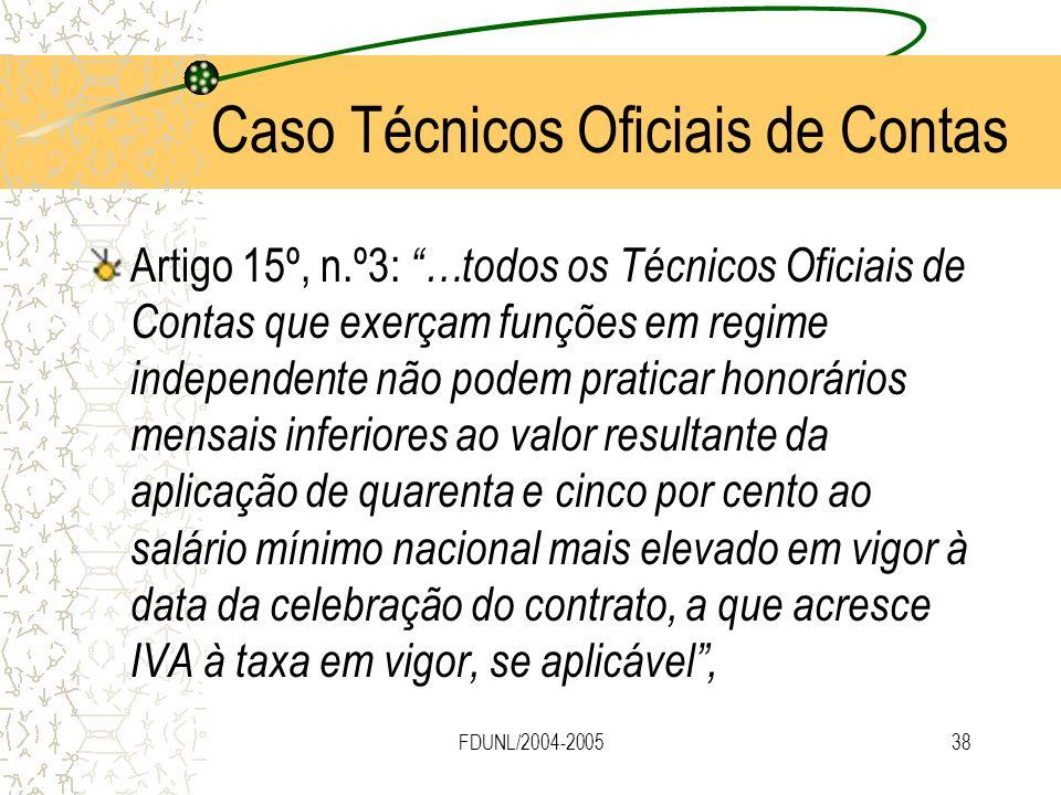FDUNL/2004-200538 Artigo 15º, n.º3: …todos os Técnicos Oficiais de Contas que exerçam funções em regime independente não podem praticar honorários men
